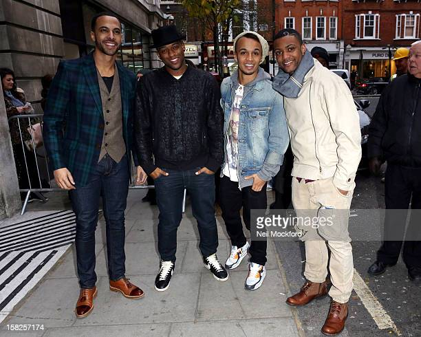 Marvin Humes Oritse Williams Aston Merrygold and Jonathan 'JB' Gill seen at BBC Radio Two on December 12 2012 in London England