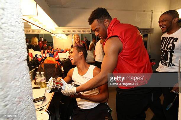 Marvin Humes Ortise Williams and Jonathan 'JB' Gill of JLS relax backstage ahead of a dress rehearsal show prior to the opening night of their JLS...
