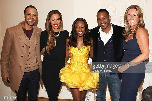 Marvin Humes, Rochelle Humes, Beverley Knight, Paul Ince and Claire Ince backstage after the West End Production of 'The Bodyguard' at Adelphi...