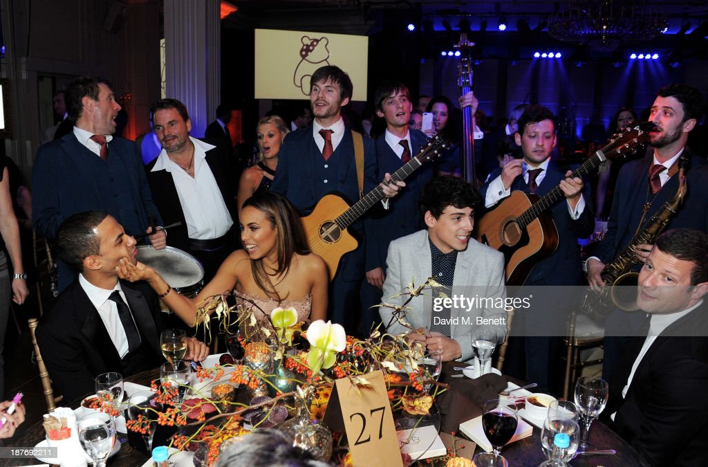 Marvin Humes, Rochelle Humes, Matt Richardson and Dermot O'Leary attend the BBC Children in Need Gala hosted by Gary Barlow at The Grosvenor House Hotel on November 11, 2013 in London, England.