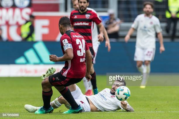 Marvin Job Matip of Ingolstadt and Mikael Ishak of Nuernberg battle for the ball during the Second Bundesliga match between FC Ingolstadt 04 and 1 FC...
