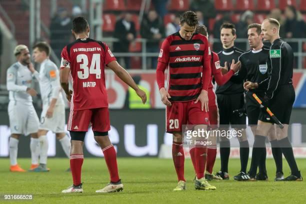 Marvin Job Matip of Ingolstadt Stefan Kutschke of Ingolstadt looks dejected during the Second Bundesliga match between FC Ingolstadt 04 and VfL...