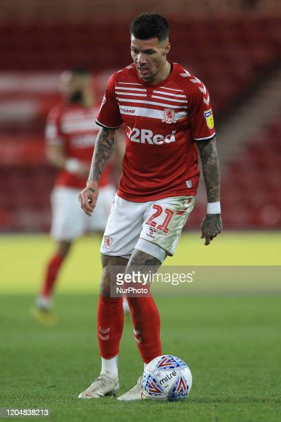 Marvin Johnson of Middlesbrough during the Sky Bet Championship match between Middlesbrough and Nottingham Forest at the Riverside Stadium...