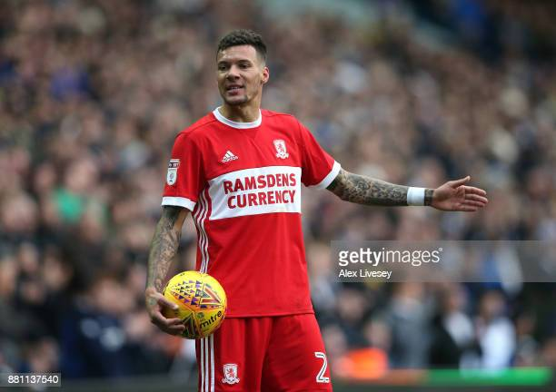 Marvin Johnson of Middlesbrough during the Sky Bet Championship match between Leeds United and Middlesbrough at Elland Road on November 19 2017 in...