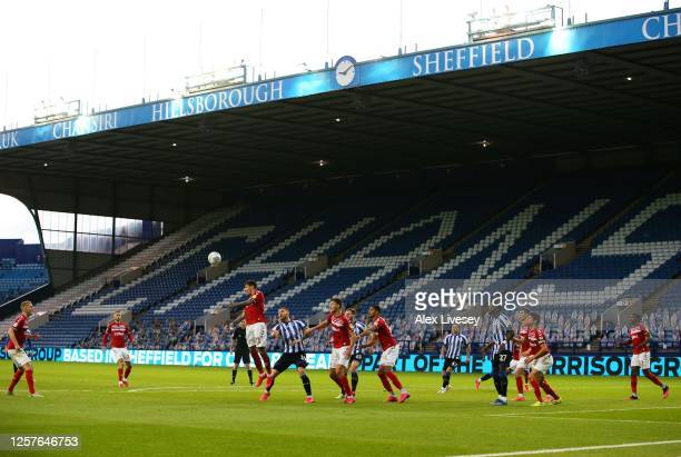 Marvin Johnson of Middlesbrough goes up for a header during the Sky Bet Championship match between Sheffield Wednesday and Middlesbrough at...