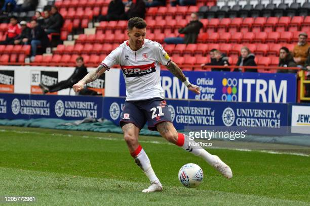 Marvin Johnson of Middlesbrough in action during the Sky Bet Championship match between Charlton Athletic and Middlesbrough at The Valley London on...