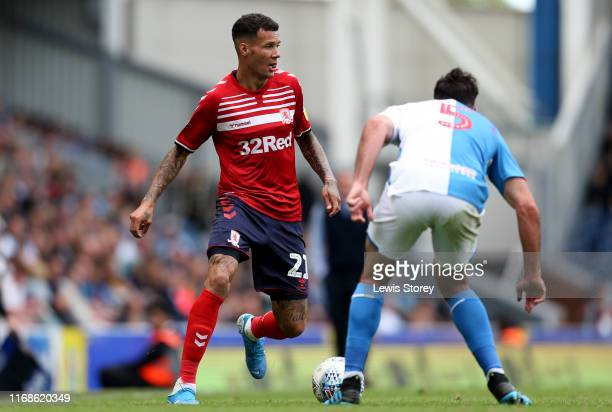 Marvin Johnson of Middlesbrough takes on Greg Cunningham of Blackburn Rovers during the Sky Bet Championship match between Blackburn Rovers and...