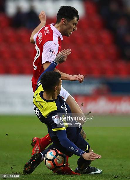 Marvin Johnson of Oxford United tackles Joe Newell of Rotherham United during The Emirates FA Cup Third Round match between Rotherham United and...