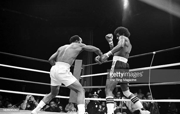 Marvin Johnson throws a punch against Michael Spinks during the fight at the Resorts International in Atlantic City New Jersey Michael Spinks won by...