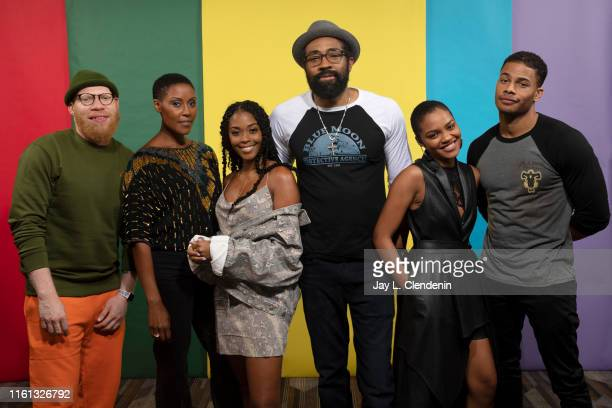 Marvin Jones III Christine Adams Nafessa Williams Cress Williams China Anne McClain and Jordan Calloway of Black Lightning' are photographed for Los...