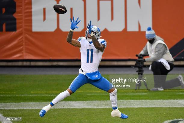 Marvin Jones Jr. #11 of the Detroit Lions catches a 25-yard touchdown reception against the Chicago Bears during the second half at Soldier Field on...
