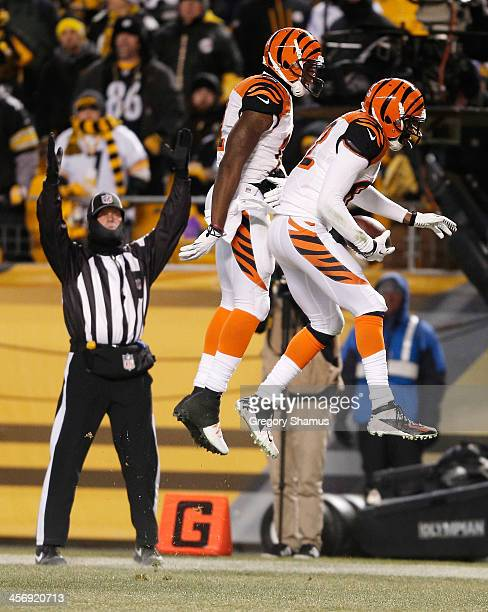 Marvin Jones of the Cincinnati Bengals celebrates his fourth quarter touchdown with Mohamed Sanu while playing the Pittsburgh Steelers at Heinz Field...