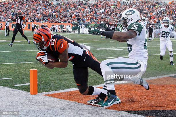 Marvin Jones of the Cincinnati Bengals hauls in a touchdown pass in front of Dawan Landry of the New York Jets during their game at Paul Brown...