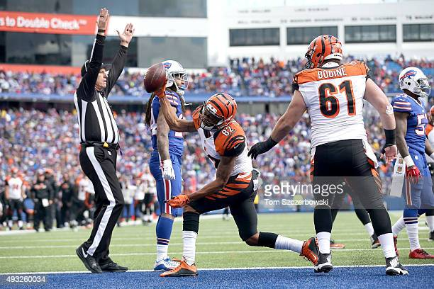 Marvin Jones of the Cincinnati Bengals spikes the ball after a touchdown against the Buffalo Bills during the second half at Ralph Wilson Stadium on...