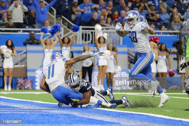 Marvin Jones of the Detroit Lions catches a fourth quarter touchdown pass against Chidobe Awuzie of the Dallas Cowboys at Ford Field on November 17...