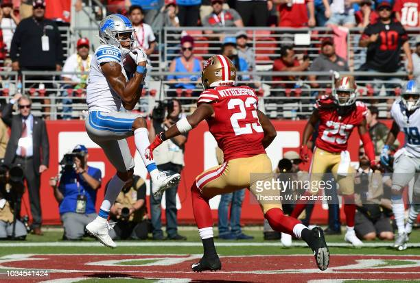 Marvin Jones of the Detroit Lions catches a touchdown pass over Ahkello Witherspoon of the San Francisco 49ers during the fourth quarter of their NFL...