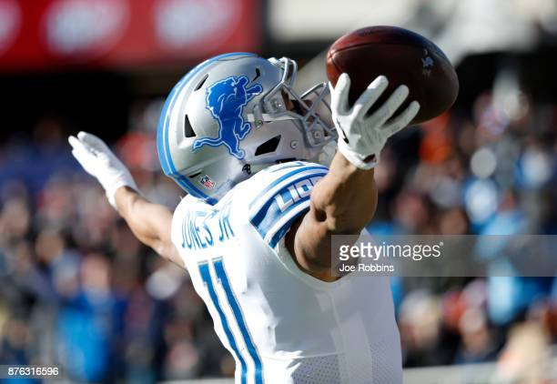 Marvin Jones of the Detroit Lions celebrates after scoring a touchdown in the second quarter against the Chicago Bears at Soldier Field on November...