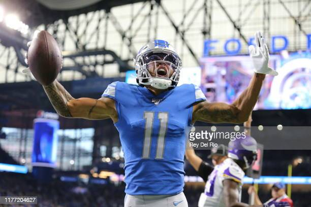 Marvin Jones of the Detroit Lions celebrates his first quarter touchdown catch against the Minnesota Vikings at Ford Field on October 20, 2019 in...