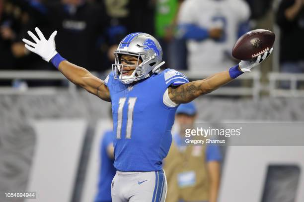 Marvin Jones of the Detroit Lions celebrates his first quarter touchdown against the Seattle Seahawks at Ford Field on October 28, 2018 in Detroit,...
