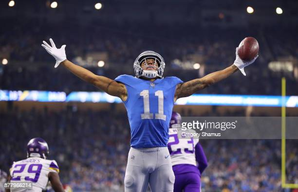 Marvin Jones of the Detroit Lions celebrates his fourth quarter touchdown against the Minnesota Vikings at Ford Field on November 23 2017 in Detroit...