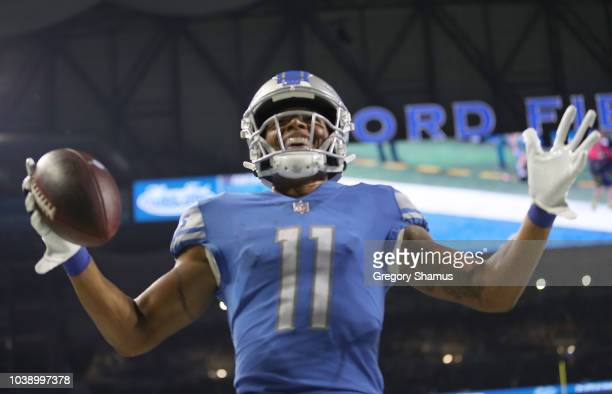Marvin Jones of the Detroit Lions celebrates his third quarter touchdown against the New England Patriots at Ford Field on September 23 2018 in...