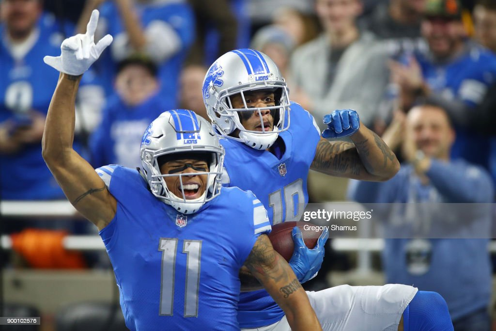 Marvin Jones #11 of the Detroit Lions celebrates his touchdown against the Green Bay Packers during the first half at Little Caesars Arena on December 29, 2017 in Detroit, Michigan.