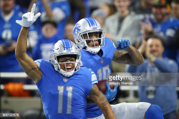 Marvin Jones of the Detroit Lions celebrates his touchdown against the Green Bay Packers during the first half at Little Caesars Arena on December 29...