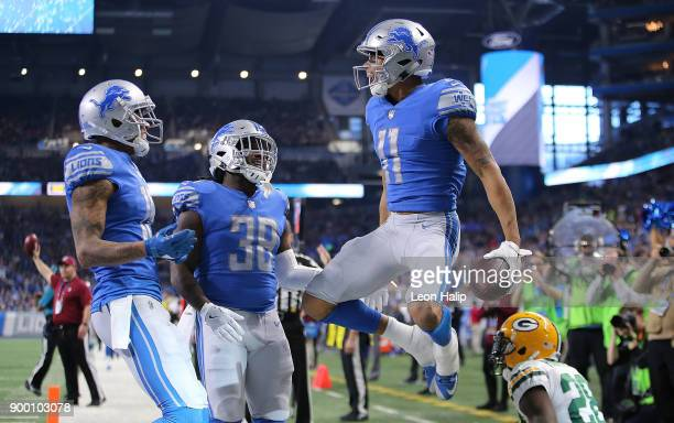 Marvin Jones of the Detroit Lions celebrates his touchdown against the Green Bay Packers during the first half at Ford Field on December 31 2017 in...