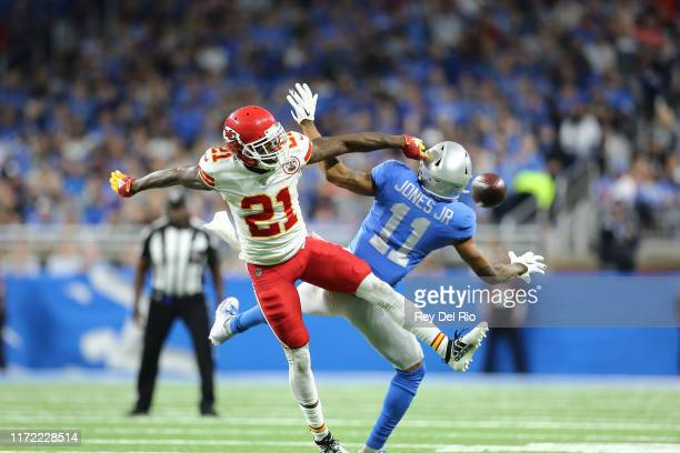 Marvin Jones of the Detroit Lions has a pass broken up by Bashaud Breeland of the Kansas City Chiefs in the third quarter at Ford Field on September...