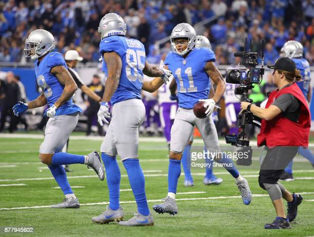 Marvin Jones of the Detroit Lions runs off the field after scoring a touchdown against the Minnesota Vikings during the second quarter at Ford Field...