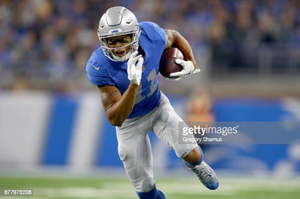 Marvin Jones of the Detroit Lions runs with ball after catching a pass against the Minnesota Vikings during the first half at Ford Field on November...