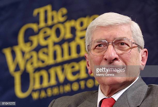 Marvin Kalb Listens To A Question From The Audience During His Conversation With Aol Time Warner Ceo Gerald M. Levin At The National Press Club...