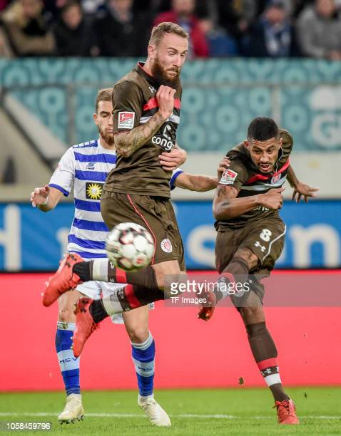 Marvin Knoll of St Pauli and Jeremy Dudziak of St Pauli battle for the ball during the Second Bundesliga match between MSV Duisburg and FC St Pauli...