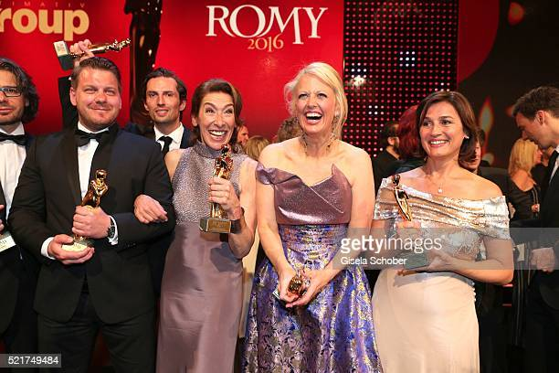 Marvin Kren Adele Neuhauser Barbara Schoeneberger and Sandra Maischberger pose with their awards during the 27th ROMY Award 2015 at Hofburg Vienna on...