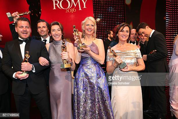 Marvin Kren Quirin Berg Adele Neuhauser Barbara Schoeneberger and Sandra Maischberger poses with her award during the 27th ROMY Award 2015 at Hofburg...