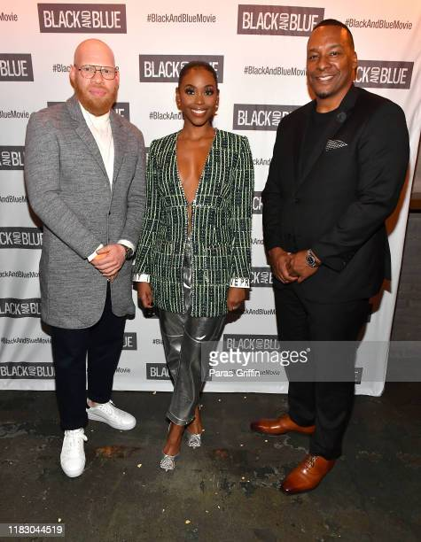 Marvin Krondon Jones III Nafessa Williams and Deon Taylor attend Black and Blue Atlanta special screening after party at Sweet Auburn BBQ on October...