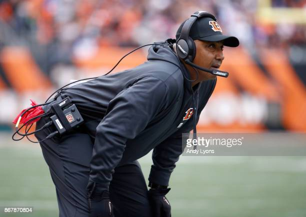 Marvin Lewis the head coach of the Cincinnati Bengals watches the action in the game against the Indianapolis Colts at Paul Brown Stadium on October...