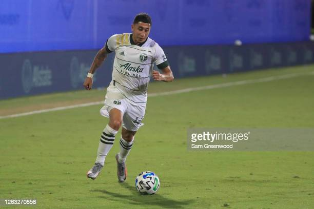 Marvin Loria of Portland Timbers controls the quarter final match of MLS Is Back Tournament between New York City and Portland Timbers at ESPN Wide...