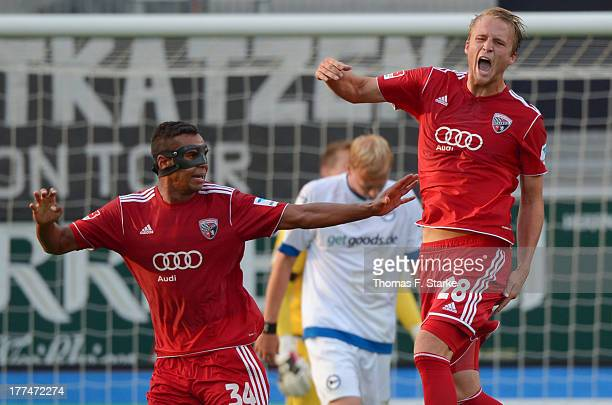 Marvin Matip and Philipp Hofmann of Ingolstadt celebrate during the Second Bundesliga match between FC Ingolstadt and Arminia Bielefeld at the Audi...