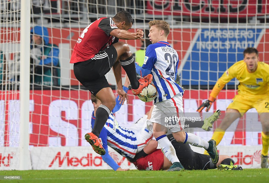 Marvin Matip of FC Ingolstadt 04 and Mitchell Weiser of Hertha BSC during the game between FC Ingolstadt and Hertha BSC on October 24, 2015 in Ingolstadt, Germany.