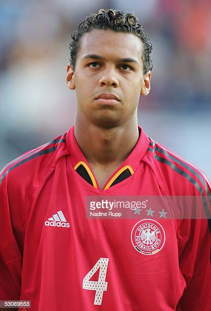 Marvin Matip of Germany looks on during the national anthem at the FIFA World Youth Championship match between Germany and USA on June 14, 2005 in...