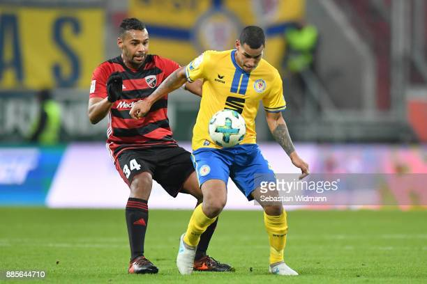 Marvin Matip of Ingolstadt and Onel Hernandez of Braunschweig compete for the ball during the Second Bundesliga match between FC Ingolstadt 04 and...