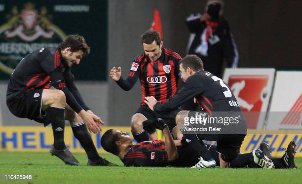 Marvin Matip of Ingolstadt celebrate his first goal with teammates during the second Bundesliga match between FC Ingolstadt and Hertha BSC Berlin on...