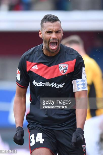Marvin Matip of Ingolstadt celebrates his teams win after the Second Bundesliga match between FC Ingolstadt 04 and SG Dynamo Dresden at Audi...