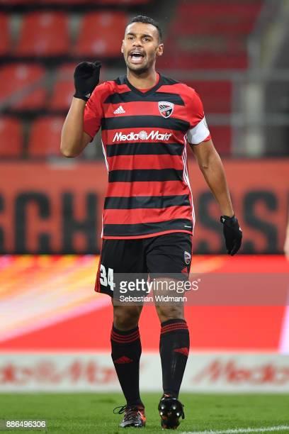 Marvin Matip of Ingolstadt gestures during the Second Bundesliga match between FC Ingolstadt 04 and Eintracht Braunschweig at Audi Sportpark on...