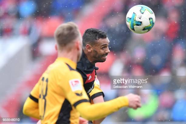 Marvin Matip of Ingolstadt jumps for a header during the Second Bundesliga match between FC Ingolstadt 04 and SG Dynamo Dresden at Audi Sportpark on...