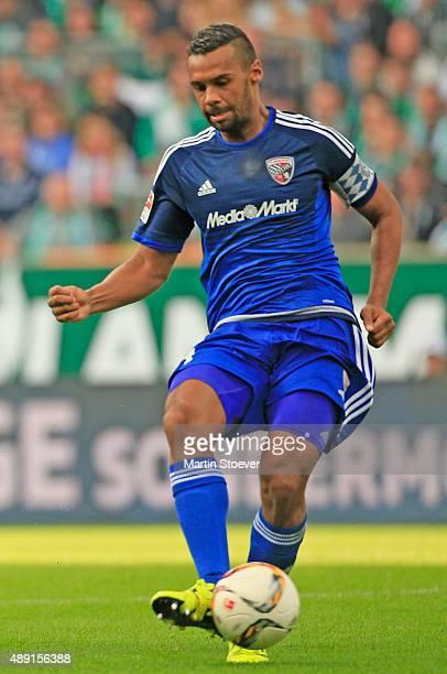 Marvin Matip of Ingolstadt plays the ball during the Bundesliga match between Werder Bremen and FC Ingolstadt at Weserstadion on September 19 2015 in...