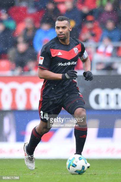Marvin Matip of Ingolstadt plays the ball during the Second Bundesliga match between FC Ingolstadt 04 and SG Dynamo Dresden at Audi Sportpark on...