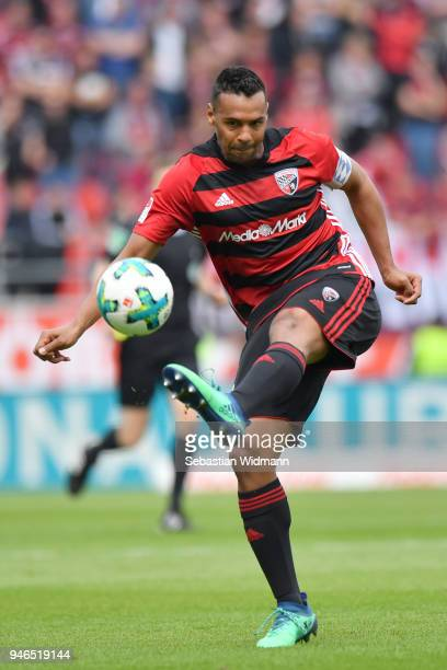 Marvin Matip of Ingolstadt plays the ball during the Second Bundesliga match between FC Ingolstadt 04 and 1 FC Nuernberg at Audi Sportpark on April...