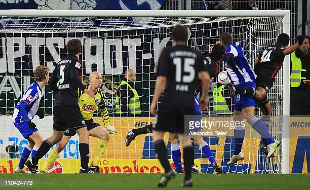Marvin Matip of Ingolstadt scores his first goal against goalkeeper Maikel Aerts of Hertha BSC during the second Bundesliga match between FC...